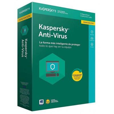 Renovación Licencia 1 Año Kaspersky Anti-Virus 2020 3 Dispositivos